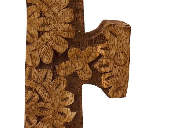 Hand Carved Wooden Flower Letter F