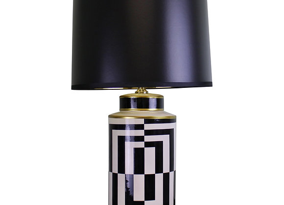 Black/White/Gold Ceramic Lamp, Geometric Design 66cm