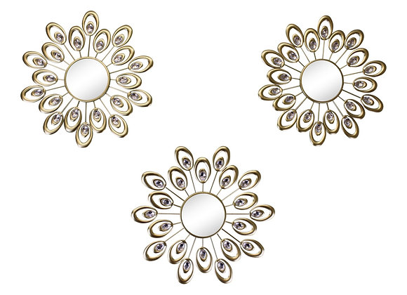 Set of 3 Gold Metal Jewelled Feather Accent Mirrors