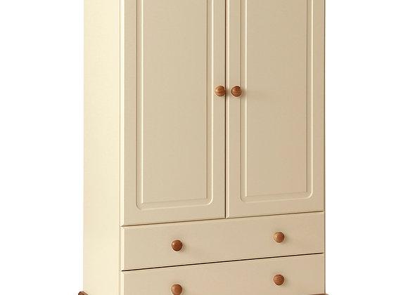 2 Door 2 Drawer Combi Robe Cream and Pine