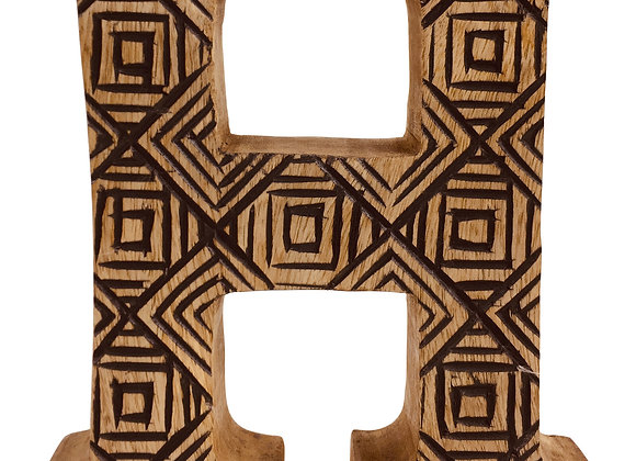 Hand Carved Wooden Geometric Letter H