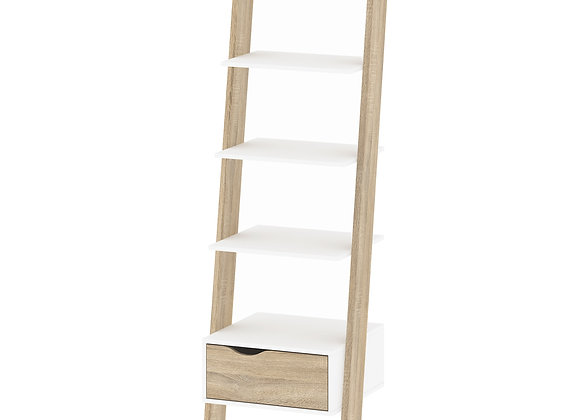 Leaning Bookcase 1 Drawer in White and Oak