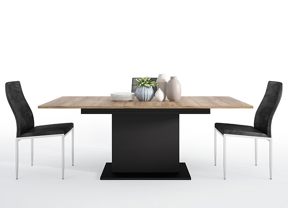 Dining set package Brolo Extending Dining Table + 6 Milan High Back Chair Black