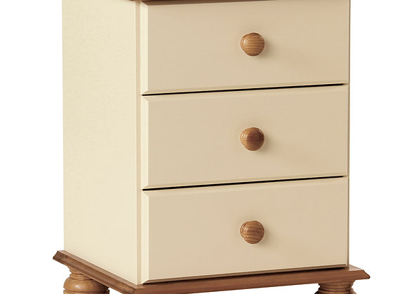3 Drawer Bedside Cream and Pine
