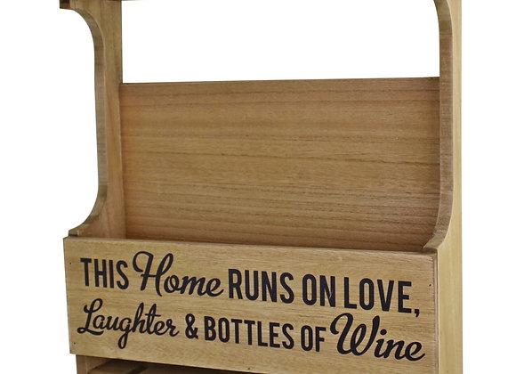 Wall Hanging Wine Bottle & Glass Holder