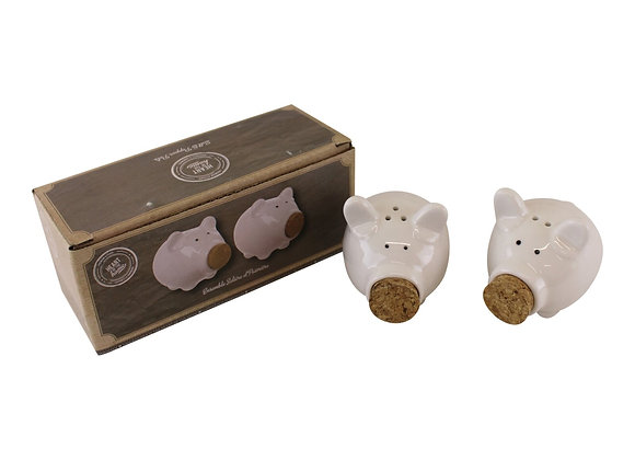Salt & Pepper Condiment Set, Pigs with Cork Stoppers