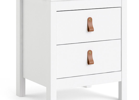 Barcelona Bedside Table 2 drawers in White