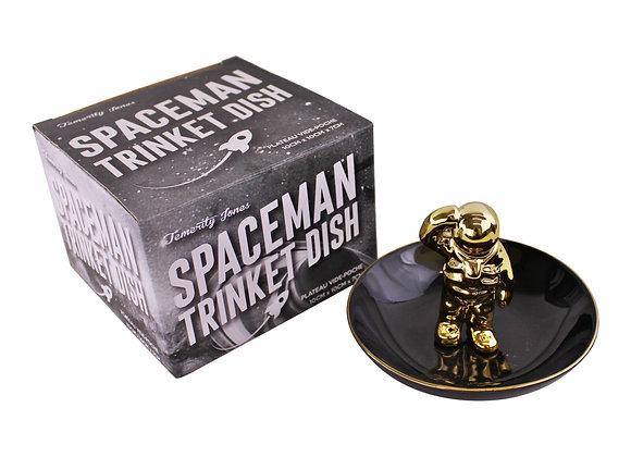 Black & Gold Ceramic Spaceman Trinket Dish
