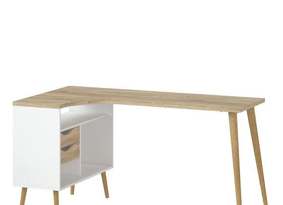 Desk 2 Drawer in White and Oak