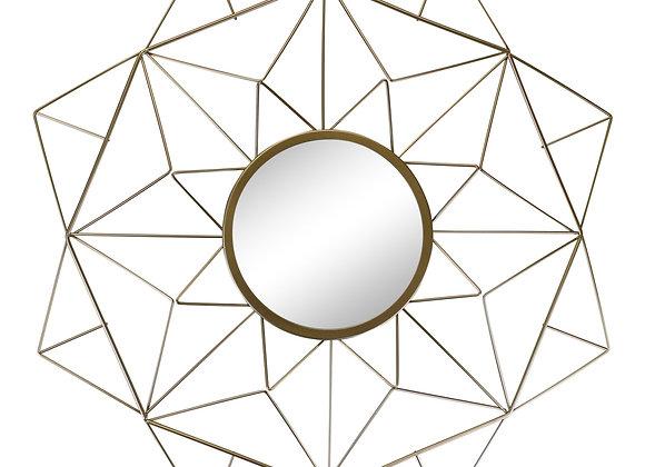 Gold Wire Geometric Design Mirror