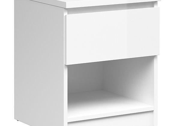 Bedside - 1 Drawer 1 Shelf in White High Gloss