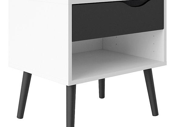 Bedside 1 Drawer in White and Black Matt