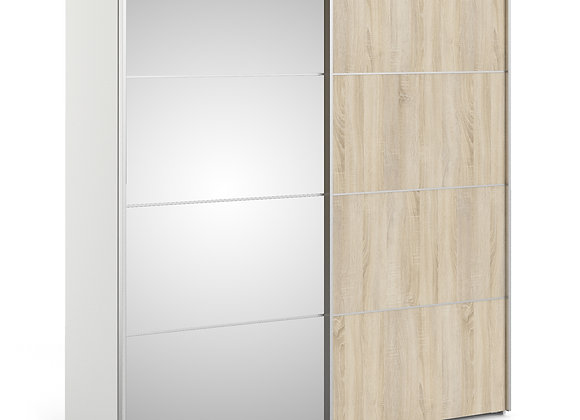 Sliding Wardrobe 180cm in White with Oak and Mirror Doors with 2 Shelves