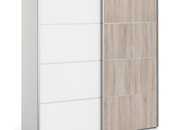 Sliding Wardrobe 180cm in White with White and Truffle Oak Doors with 5 Shelves