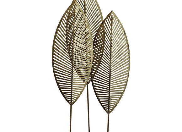 Three Leaf Metal Standing Ornament, 51cm.