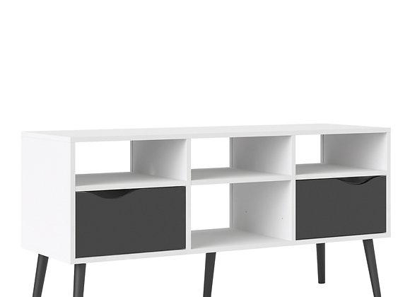 TV Unit - Wide - 2 Drawers 4 Shelves in White and Black Matt