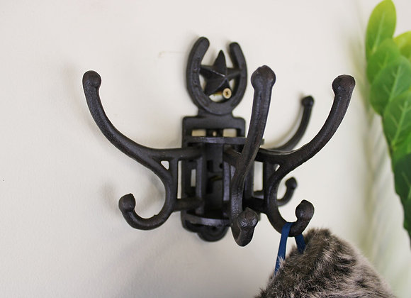 Cast Iron Wall Mounted Rotating Coat Hooks, Horseshoe, 8 Hooks