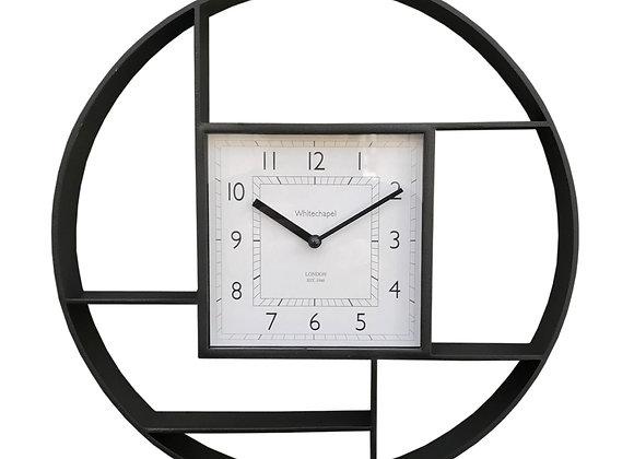 Black Plastic Wall Hanging Shelf Unit With Clock