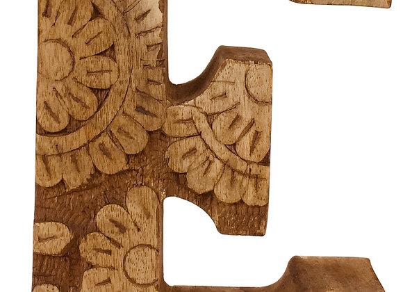 Hand Carved Wooden Flower Letter E