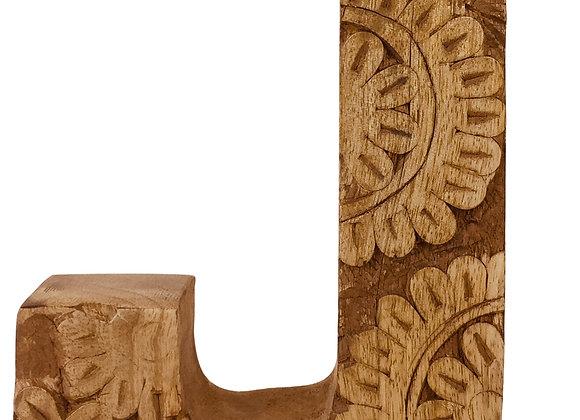 Hand Carved Wooden Flower Letter J
