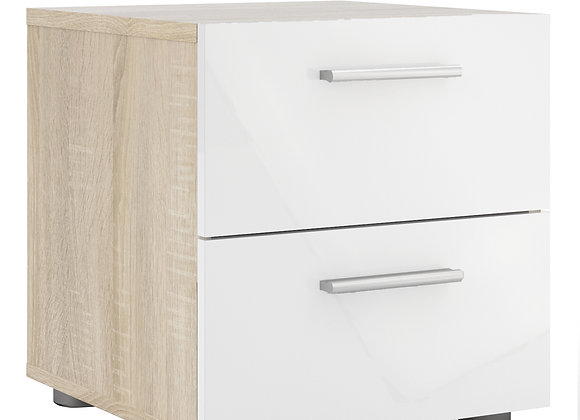 Bedside 2 Drawers in Oak with White High Gloss