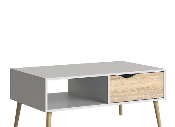 Coffee Table 1 Drawer 1 Shelf in White and Oak