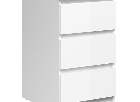 Bedside - 3 Drawers in White High Gloss