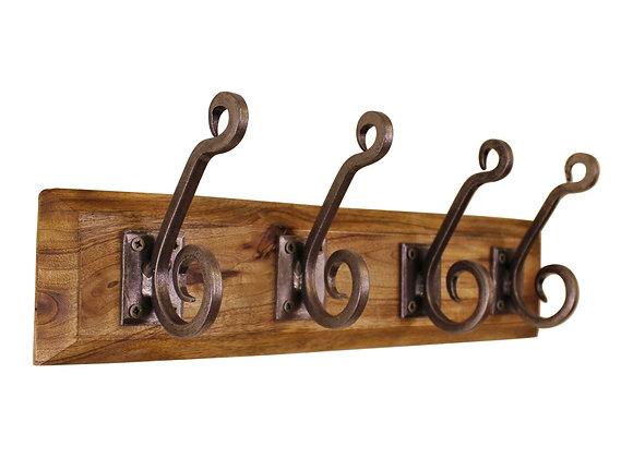 4 Piece Double Metal Hooks On Wooden Base
