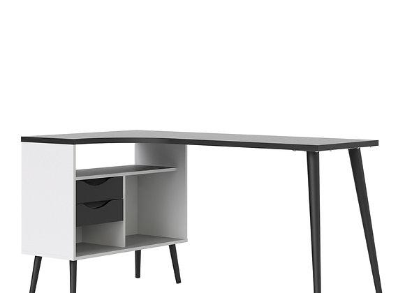 Desk 2 Drawer in White and Black Matt