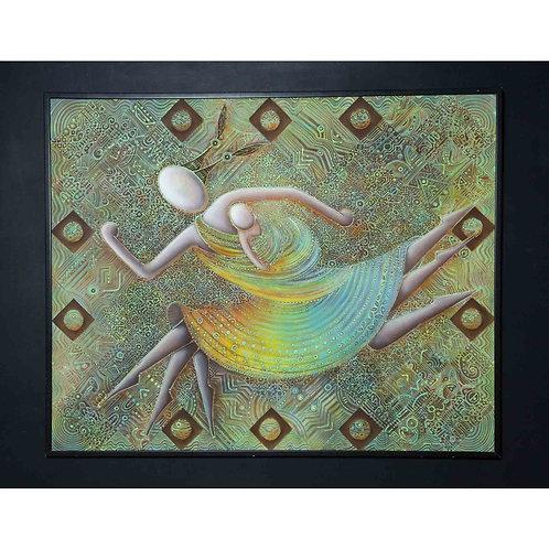 """Vista frontal cuadro de Arte Neo-Crotálico """"CRUZANDO LA FRONTERA"""" Representación simbólica de madre corriendo con su bebé."""