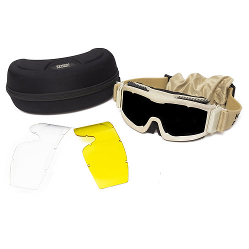 Komodo Dragon® x5 Goggles tacticos color arena con 3 lentes intercambiables