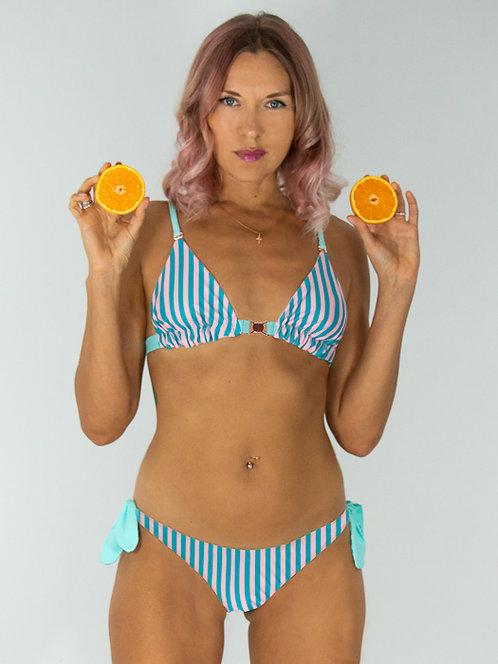 Frozen Stripes Side-Tie Reversible Bikini