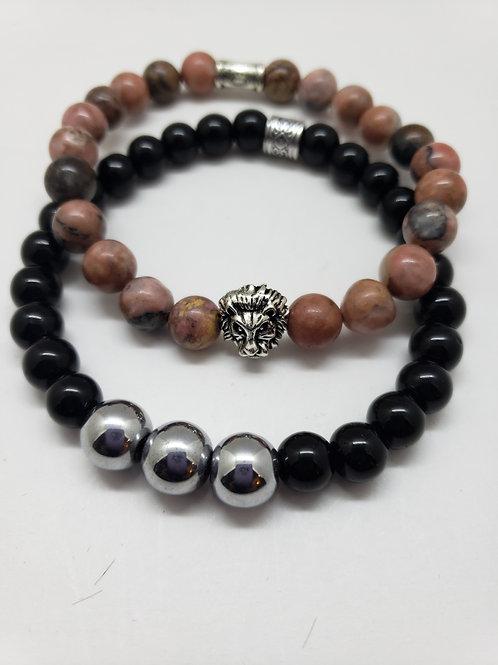 Men's Rhondonite gemstone bracelet set