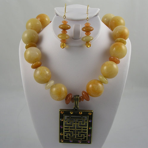 Yellow Jade Necklace & Earring set