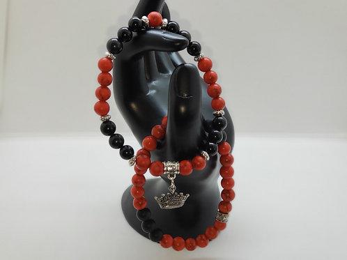 Black Obsidian & Red Turquoise bracelet