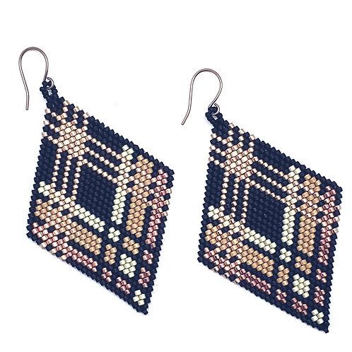 Triple Striped Diamond Earrings