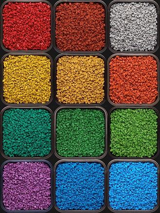 цветная резиновая крошка, окрашенная резиновая крошка, цветорика, резиновая крошка, производство цветной резиновой крошки