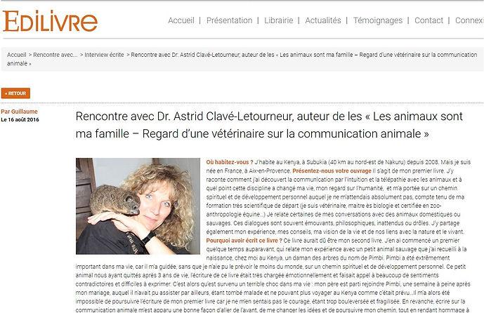 article Astrid Clavé vétérinaire sur Edilivre