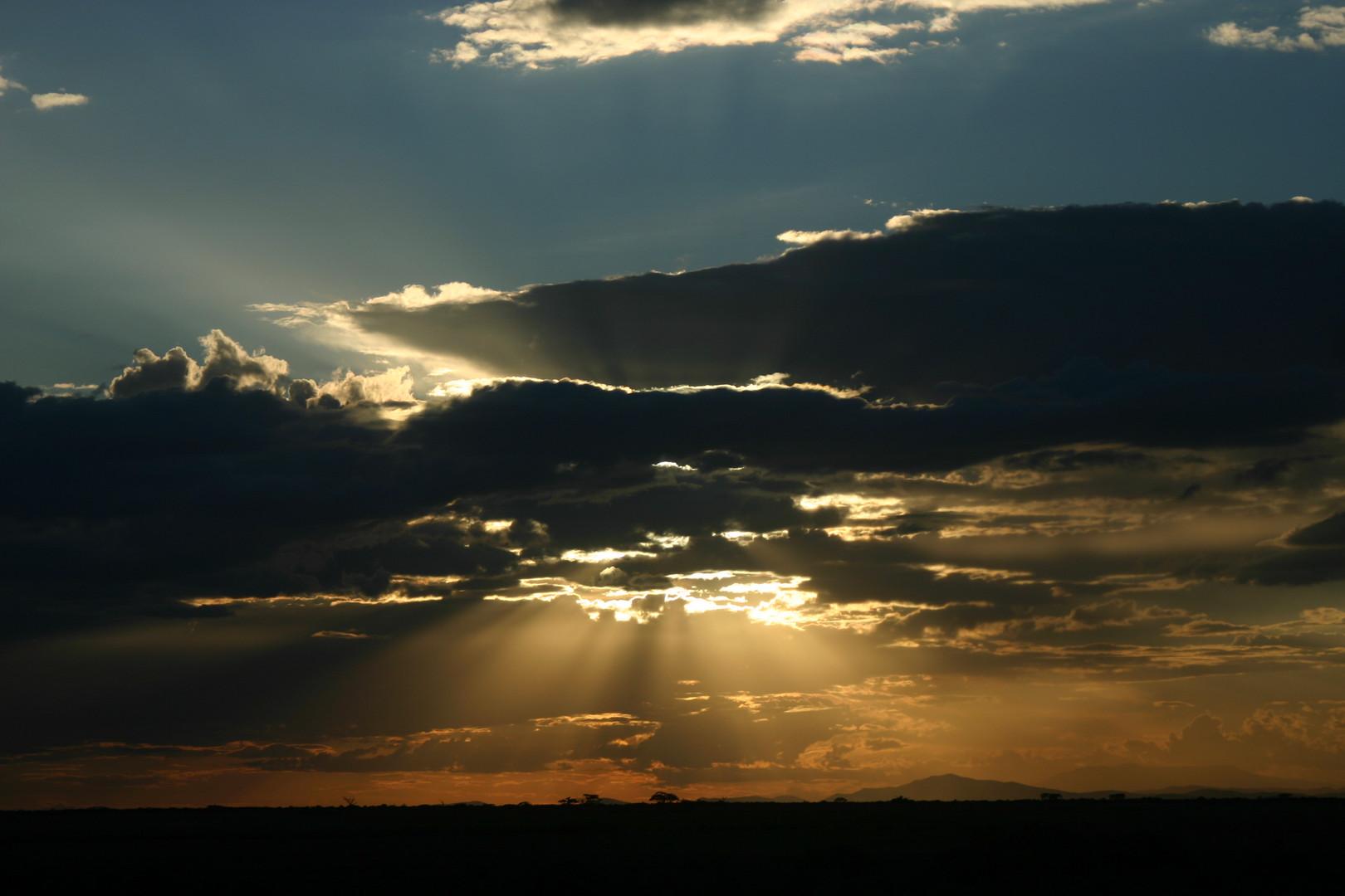 coucher de soleil à Maasai Mara