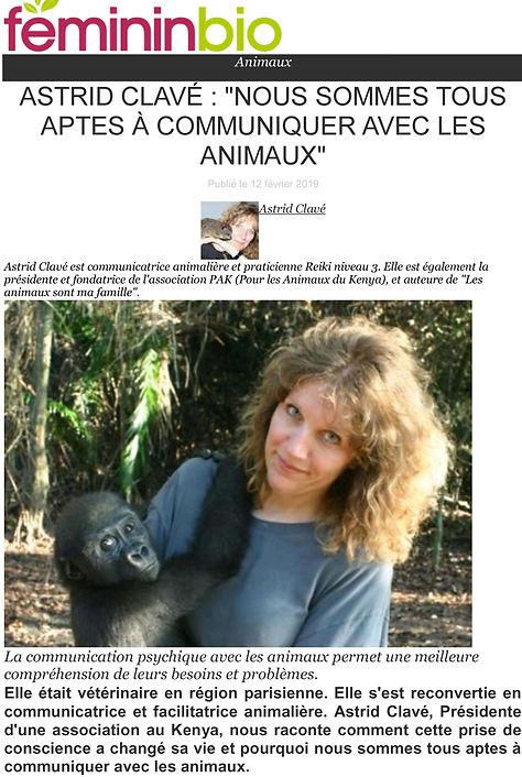 Article Féminin Bio : communiquer avec les animaux