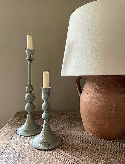 Grey/Green Aged Candlesticks