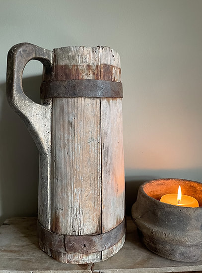 19th Century Primitive French Wooden Pitcher