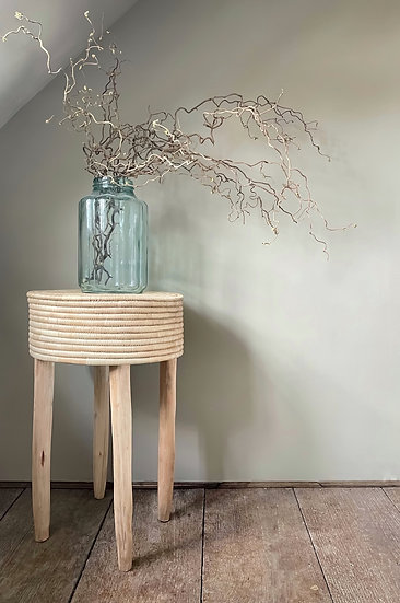 Primitive Woven and Wood Malwai Side Table