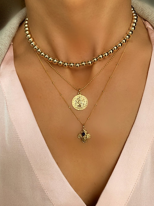 Multi Ball Necklace, St. Christopher Necklace & 4-Way Cross Necklace