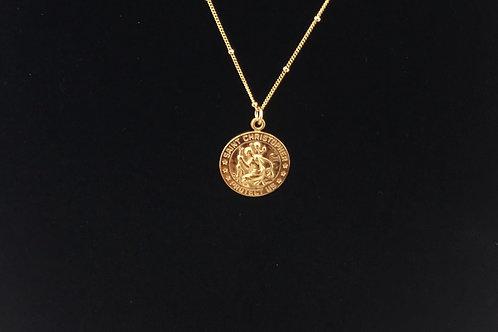 Medium Saint Christopher: 14K Gold Filled Necklace