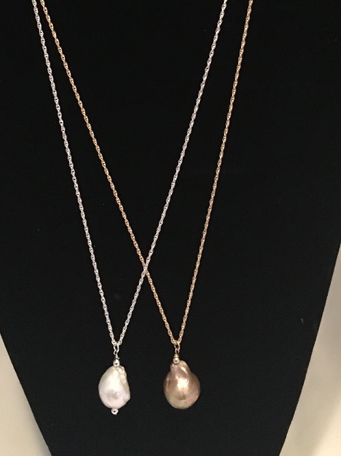 "Gold Filled 30"" Rope Chain with Pearl"
