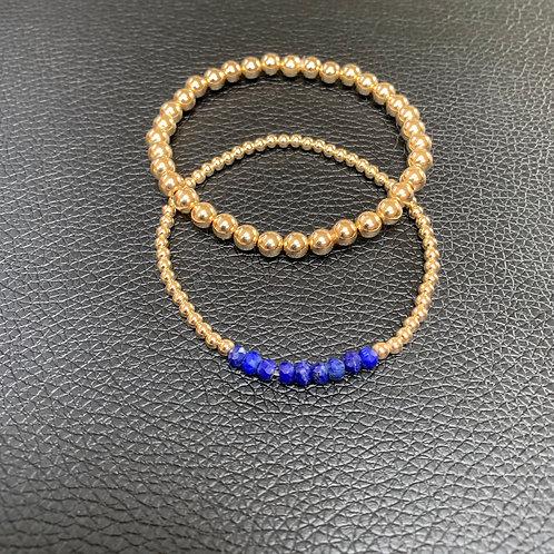 Crushed Lapis and 5mm Bracelet