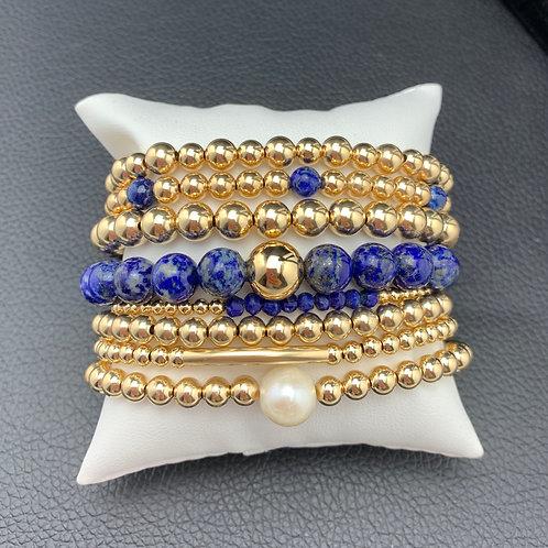Lapis and Gold 8 Bracelet Bundle
