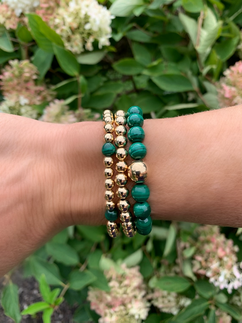 Malachite and Gold Beads