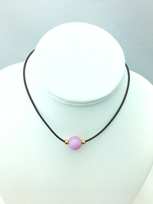 Lilac Jade Necklace with 14k Gold Filled Rondelles (3 leather choices)